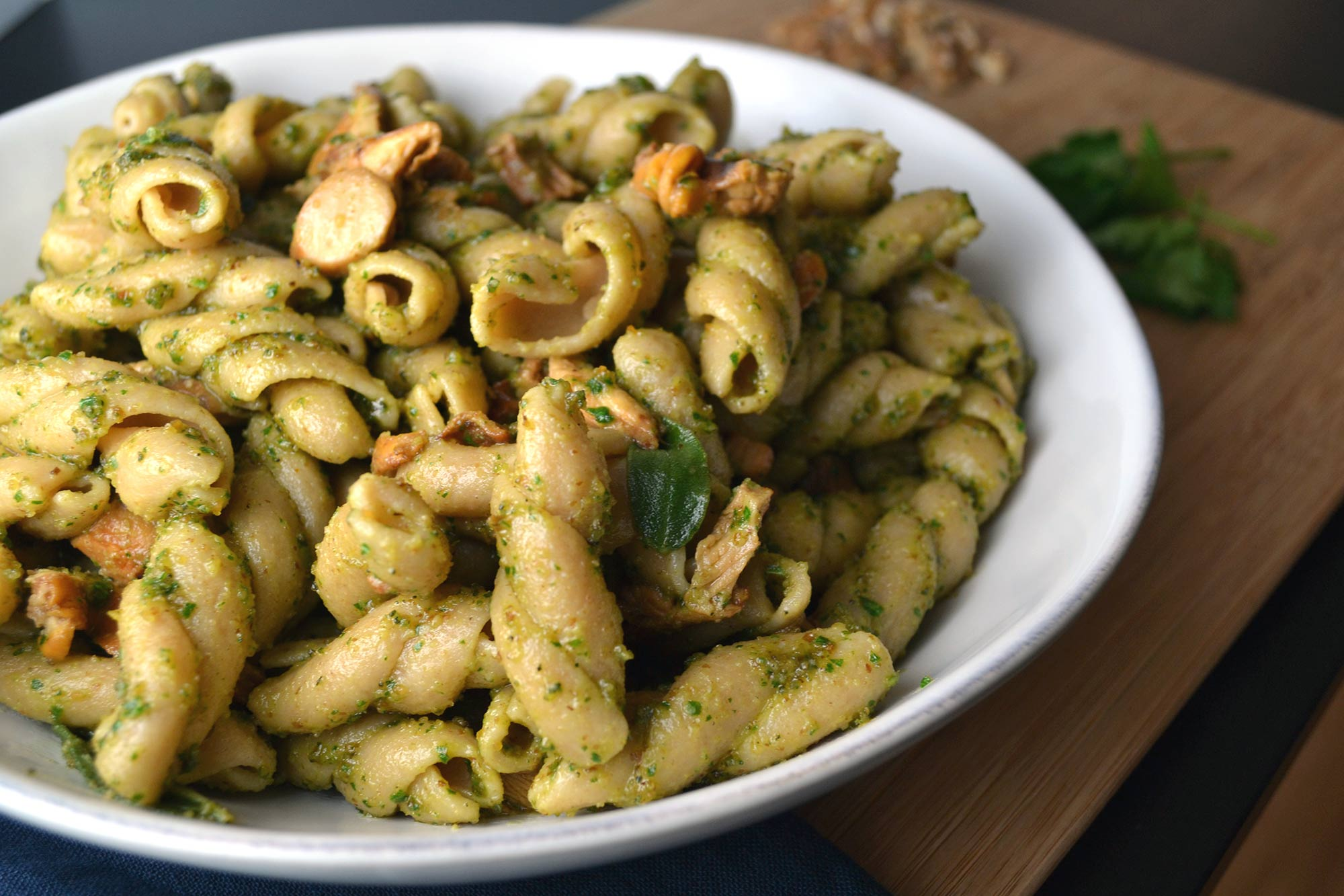 Walnut-Sage Pesto Corkscrews with Chanterelles