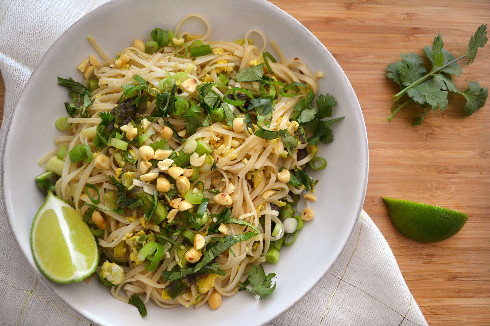 Pad Thai with Green Garlic and Asparagus