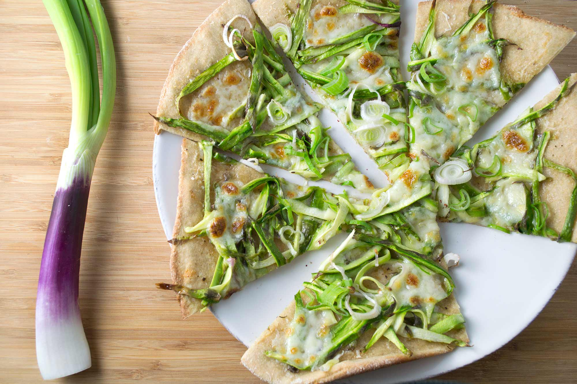 Shaved Asparagus Pizza with Spring Onion