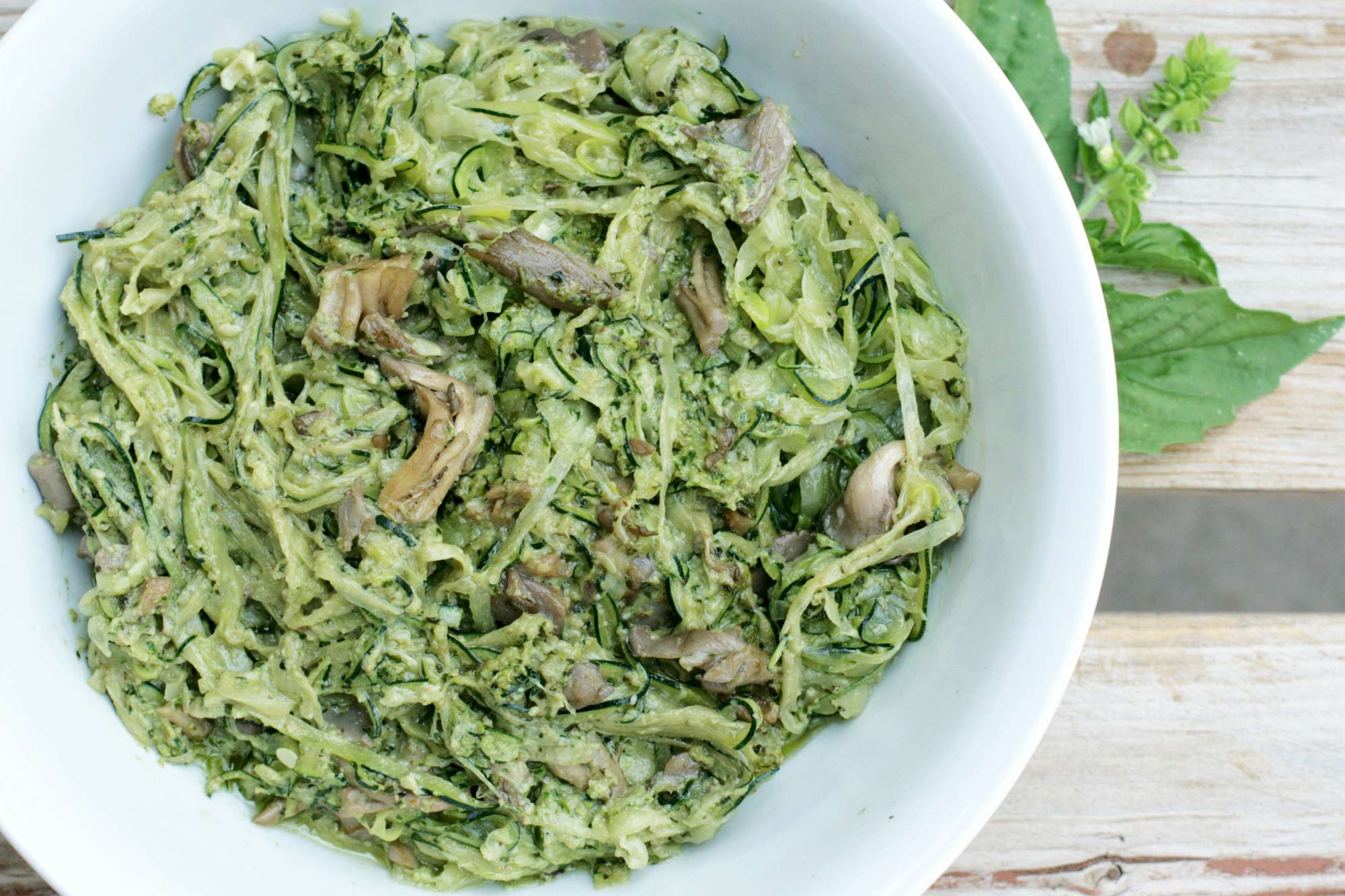 Zoodles with Mushrooms and Basil Walnut Pesto
