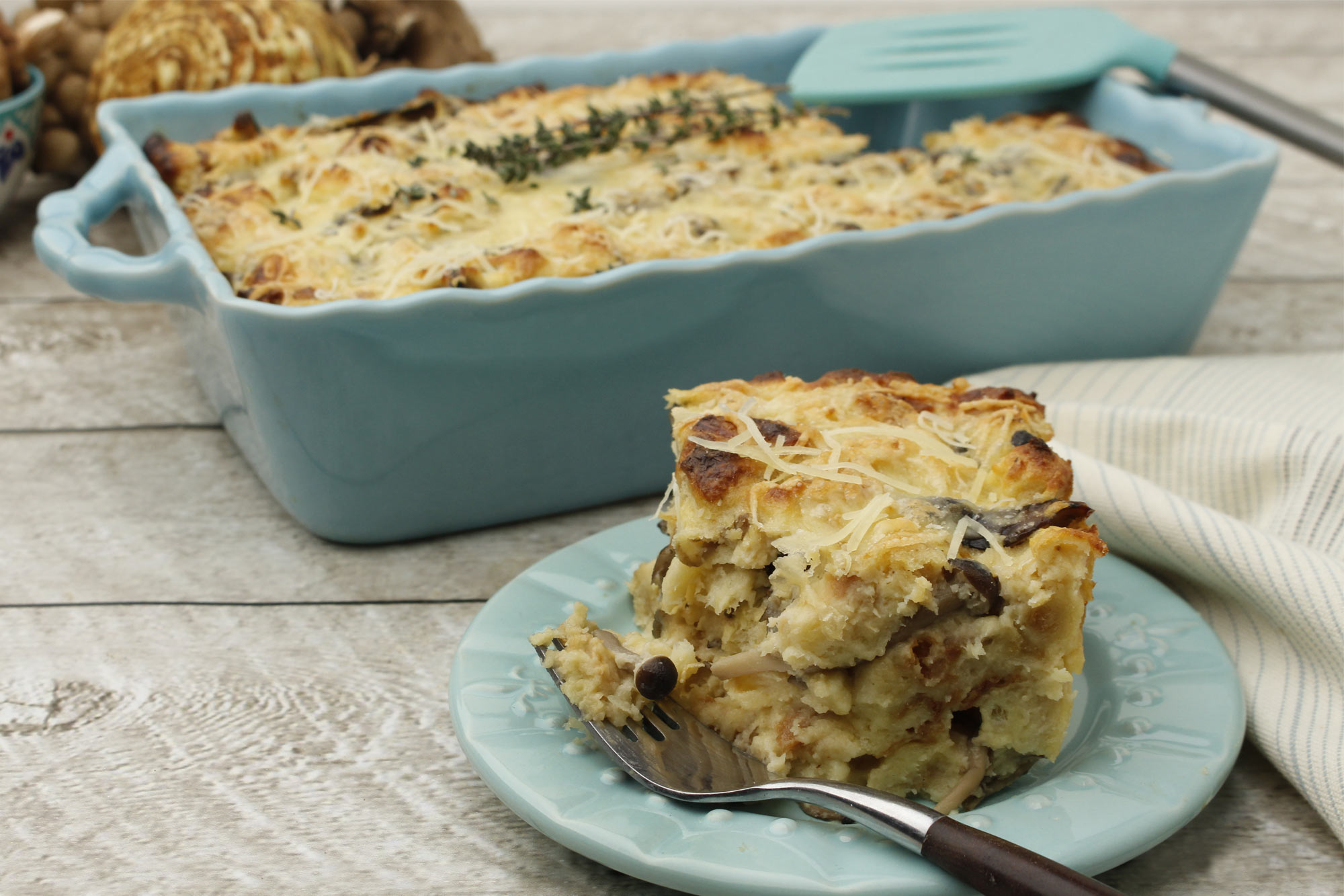 Celery Root and Mushroom Bread Pudding