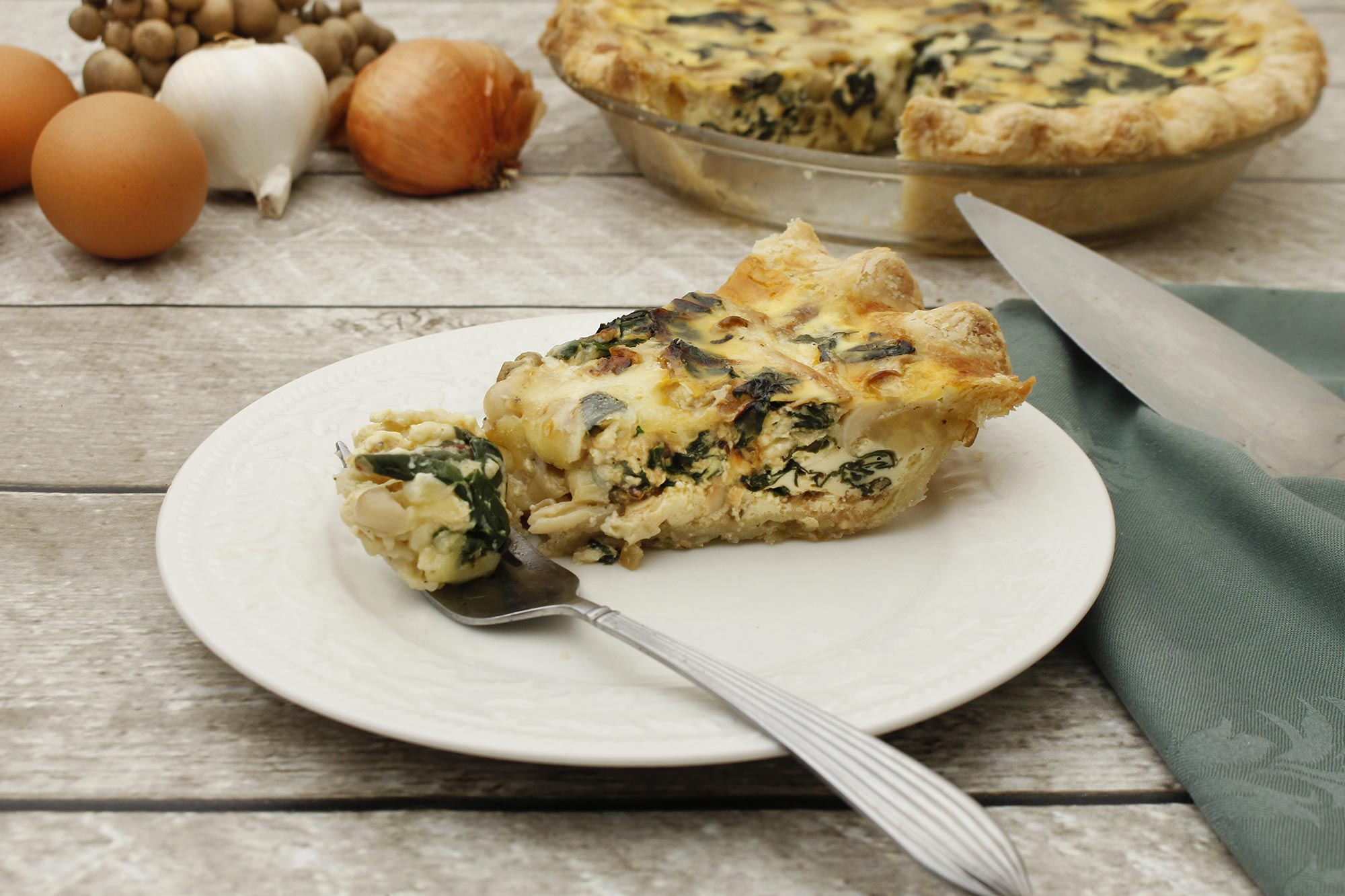 Caramelized Shallot, Chard and Mushroom Quiche