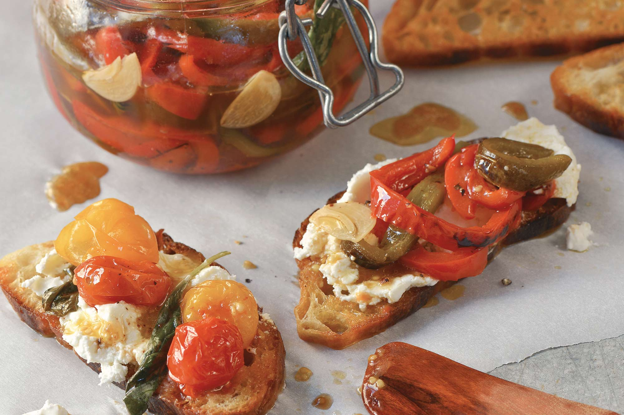 Marinated Basil and Garlic Peppers on Goat Cheese Tartines