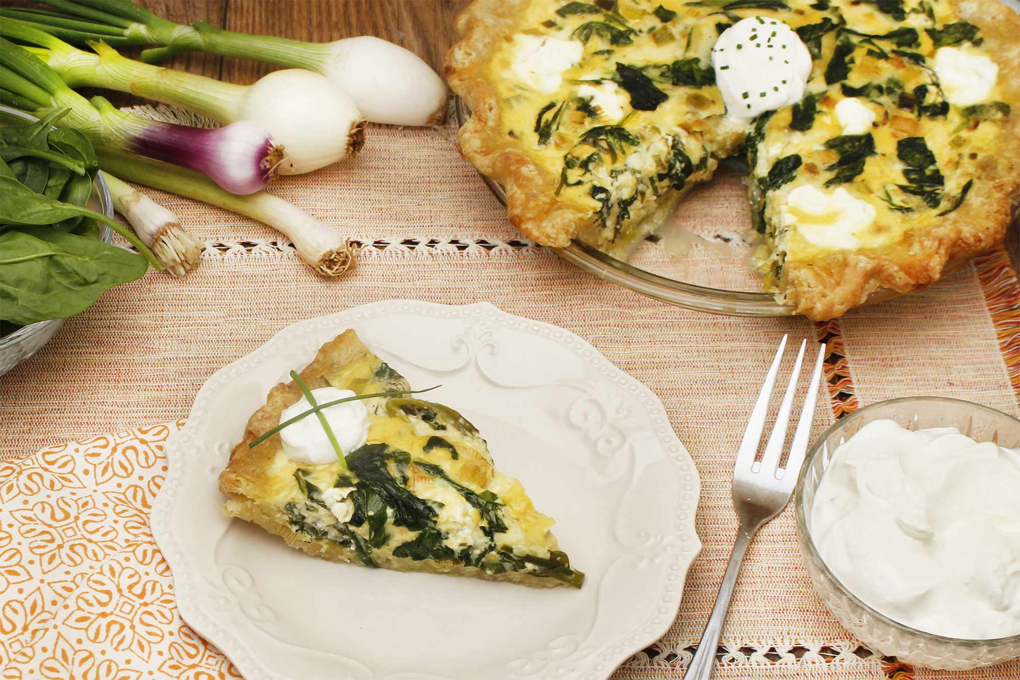 Spring Onion, Green Garlic and Spinach Quiche