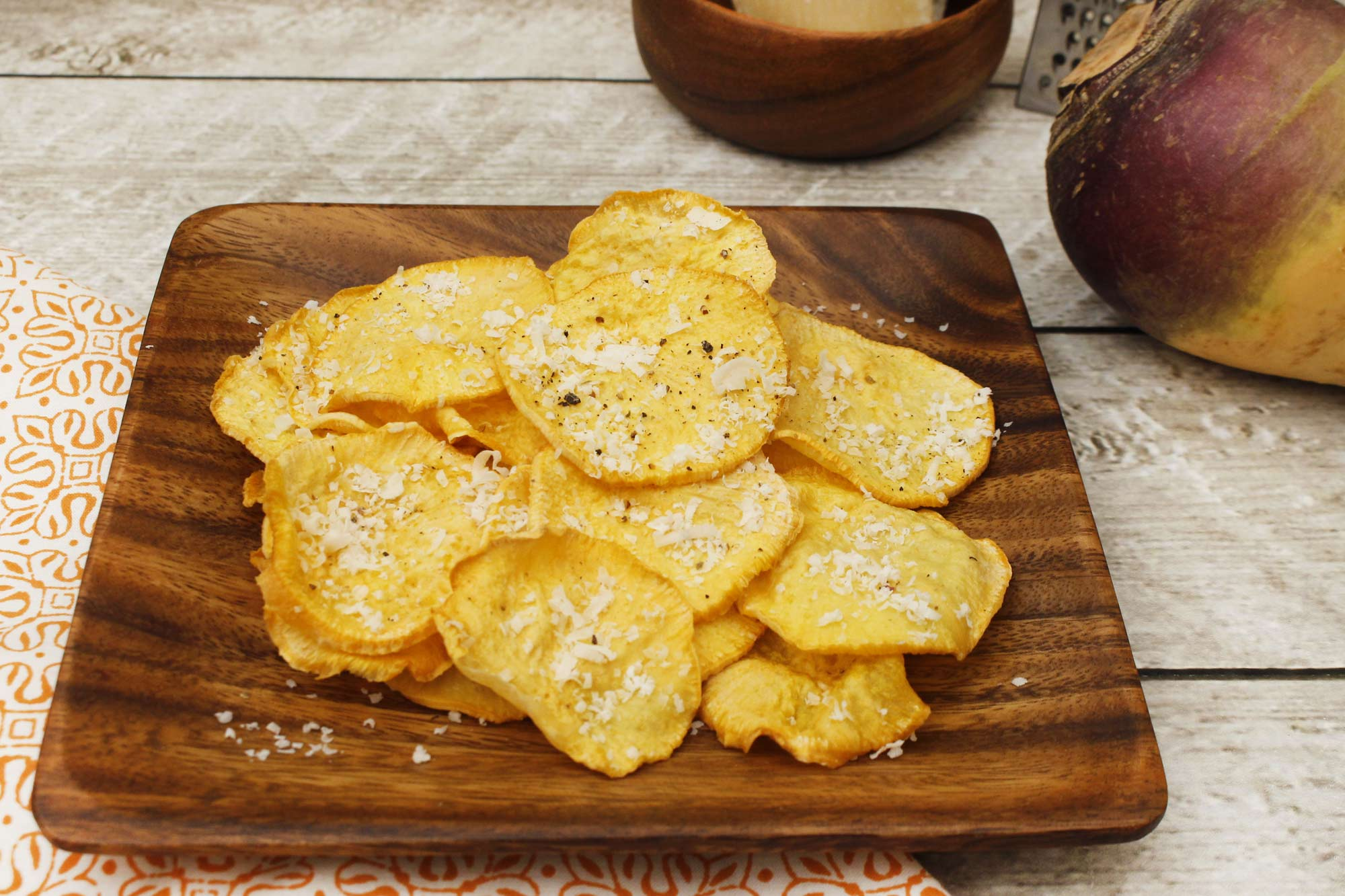 Purple Top Turnip and Parmesan Chips