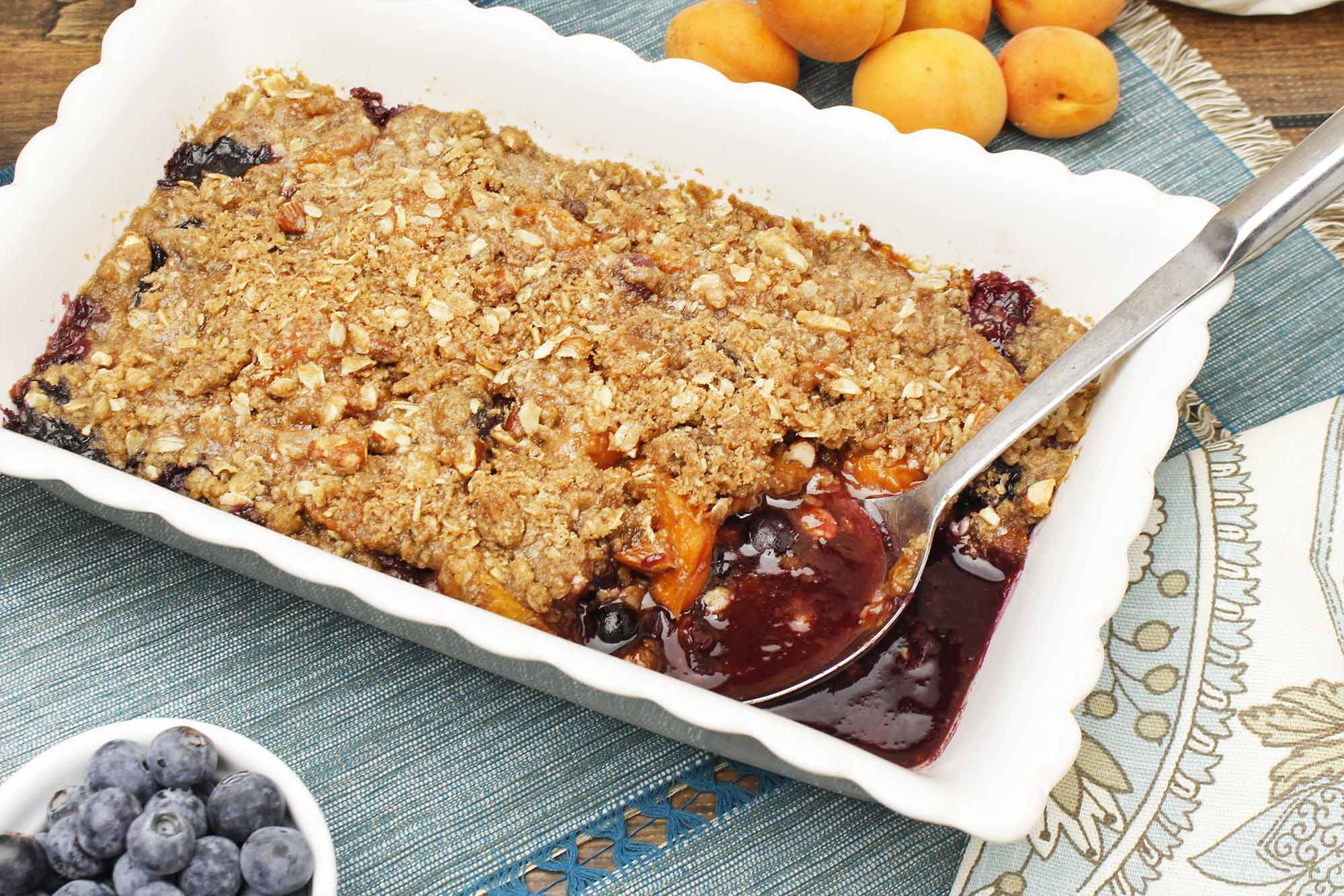 Apricot and Blueberry Crumble