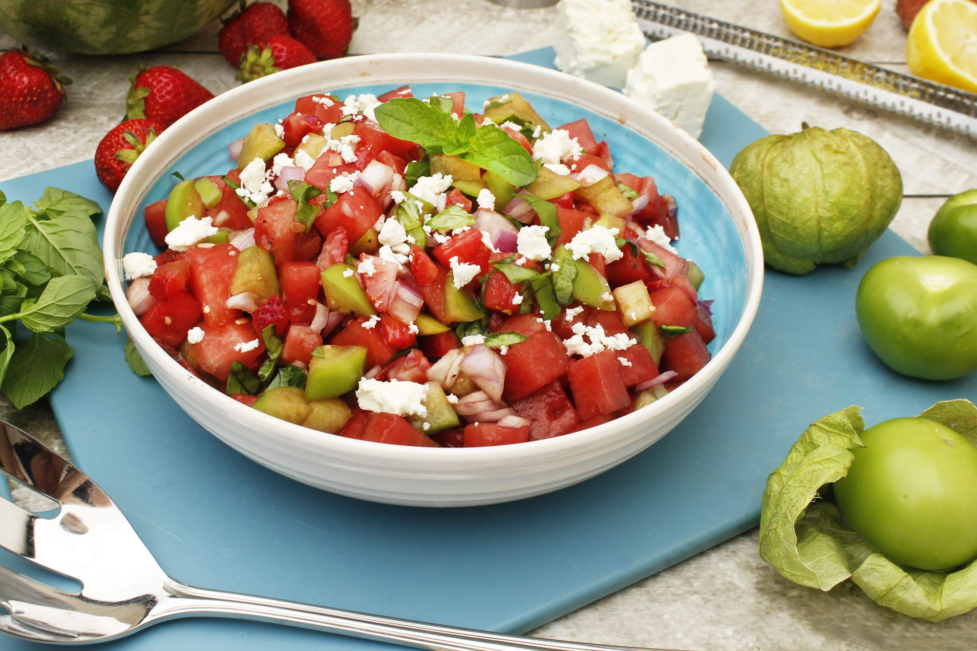 Tomatillo Salad with Watermelon and Strawberry