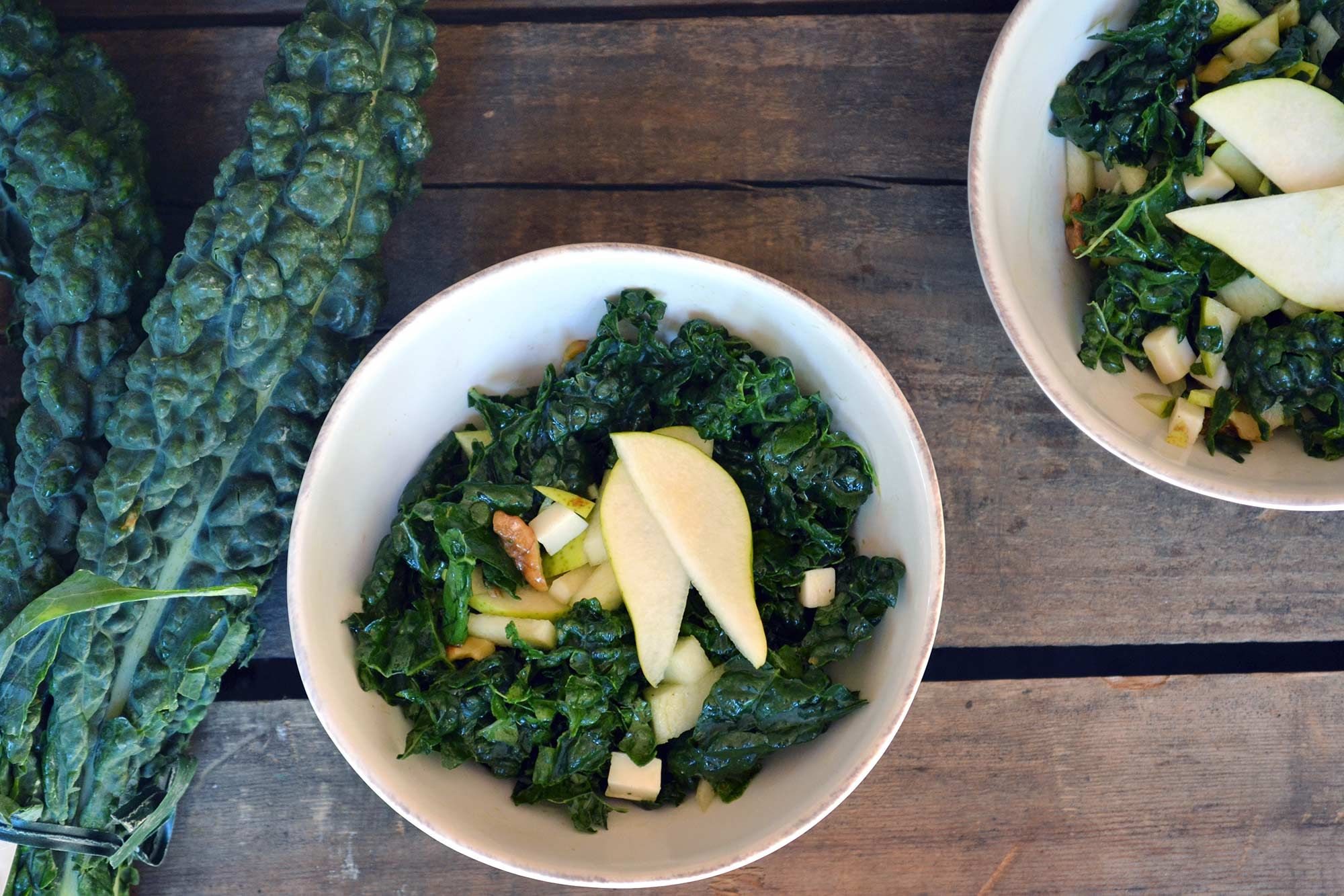 Kale Salad with Pears and Gouda