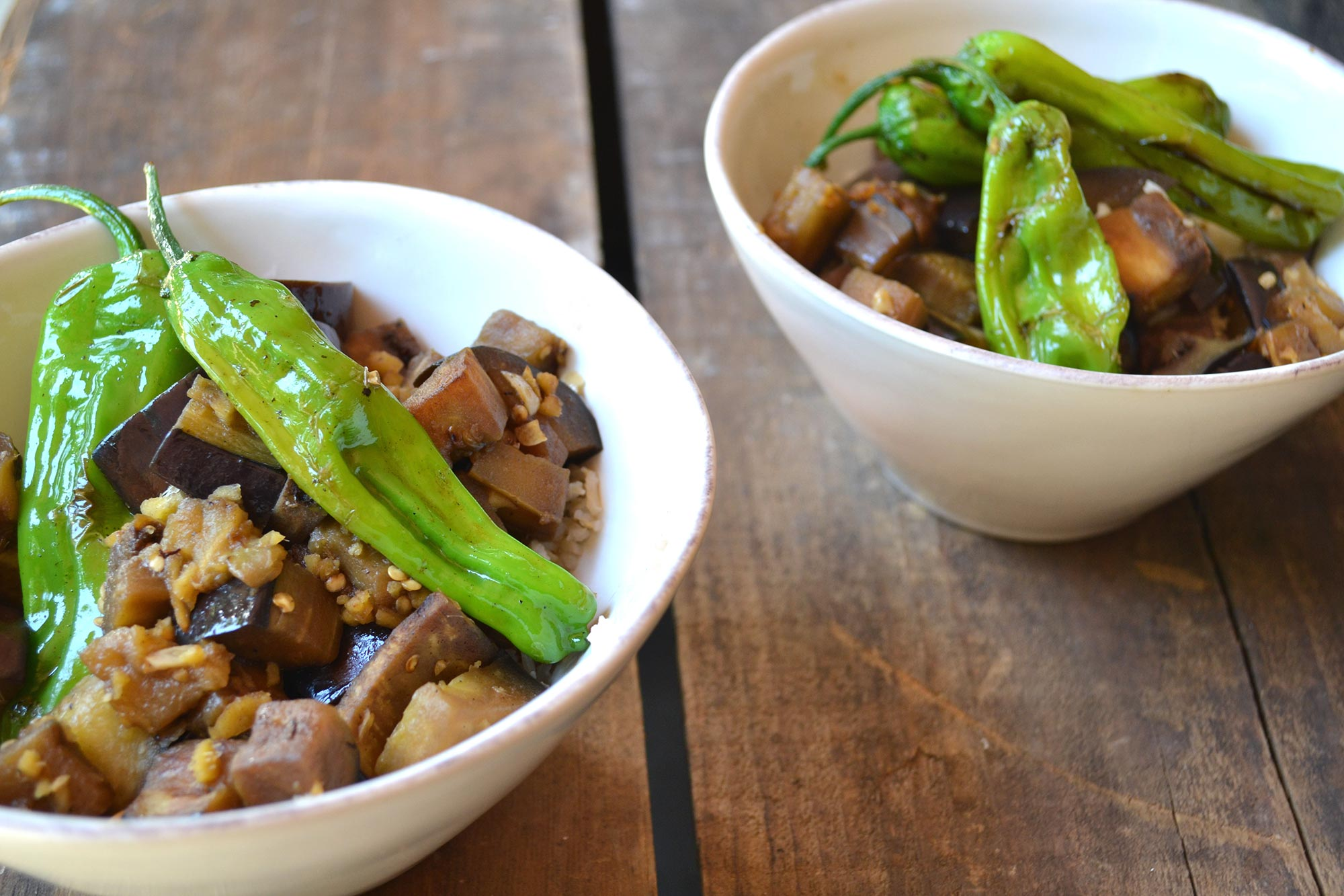 Eggplant Stir Fry with Shishito Peppers