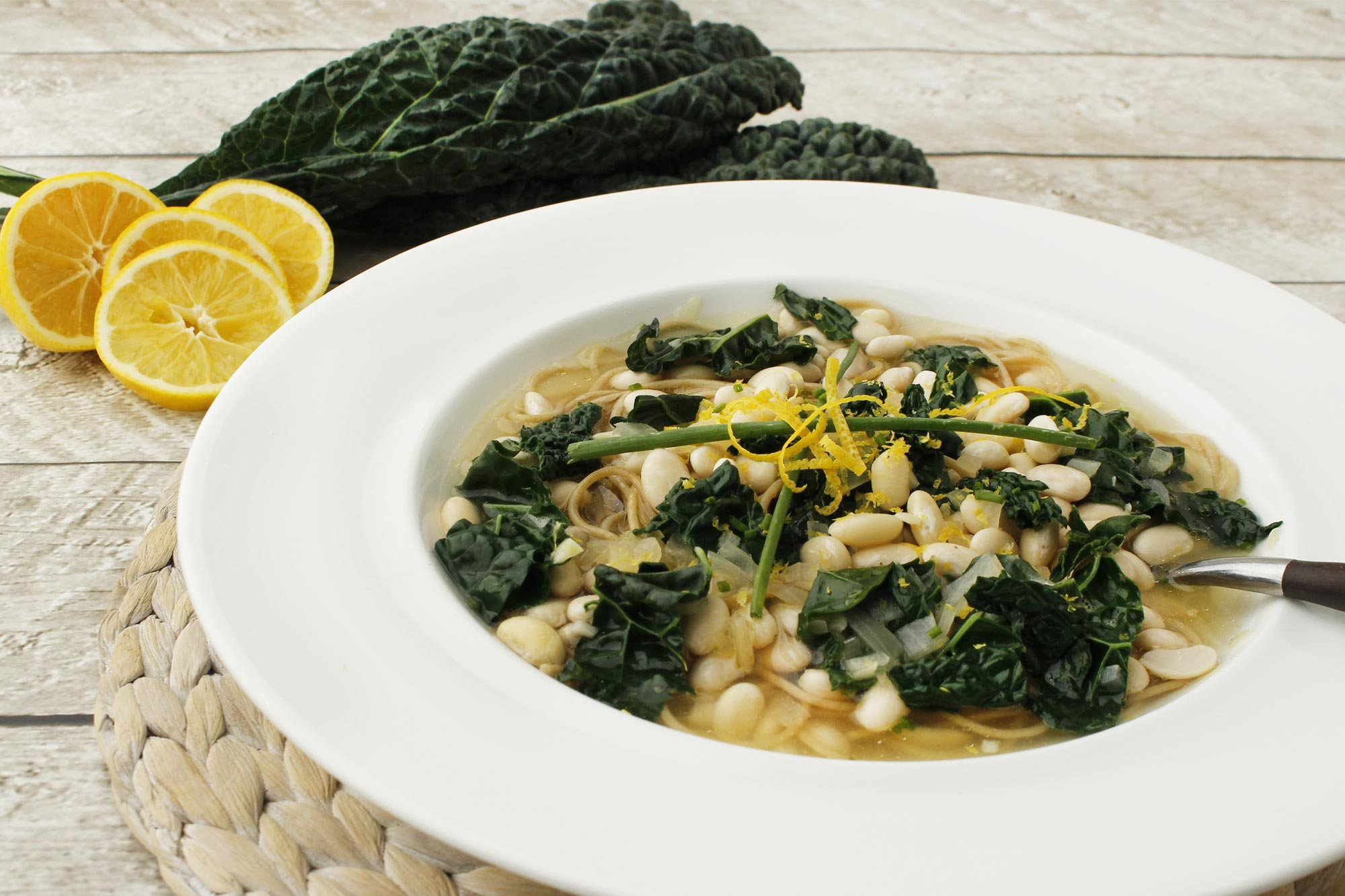 Lemon Soup with Pasta, White Bean and Kale