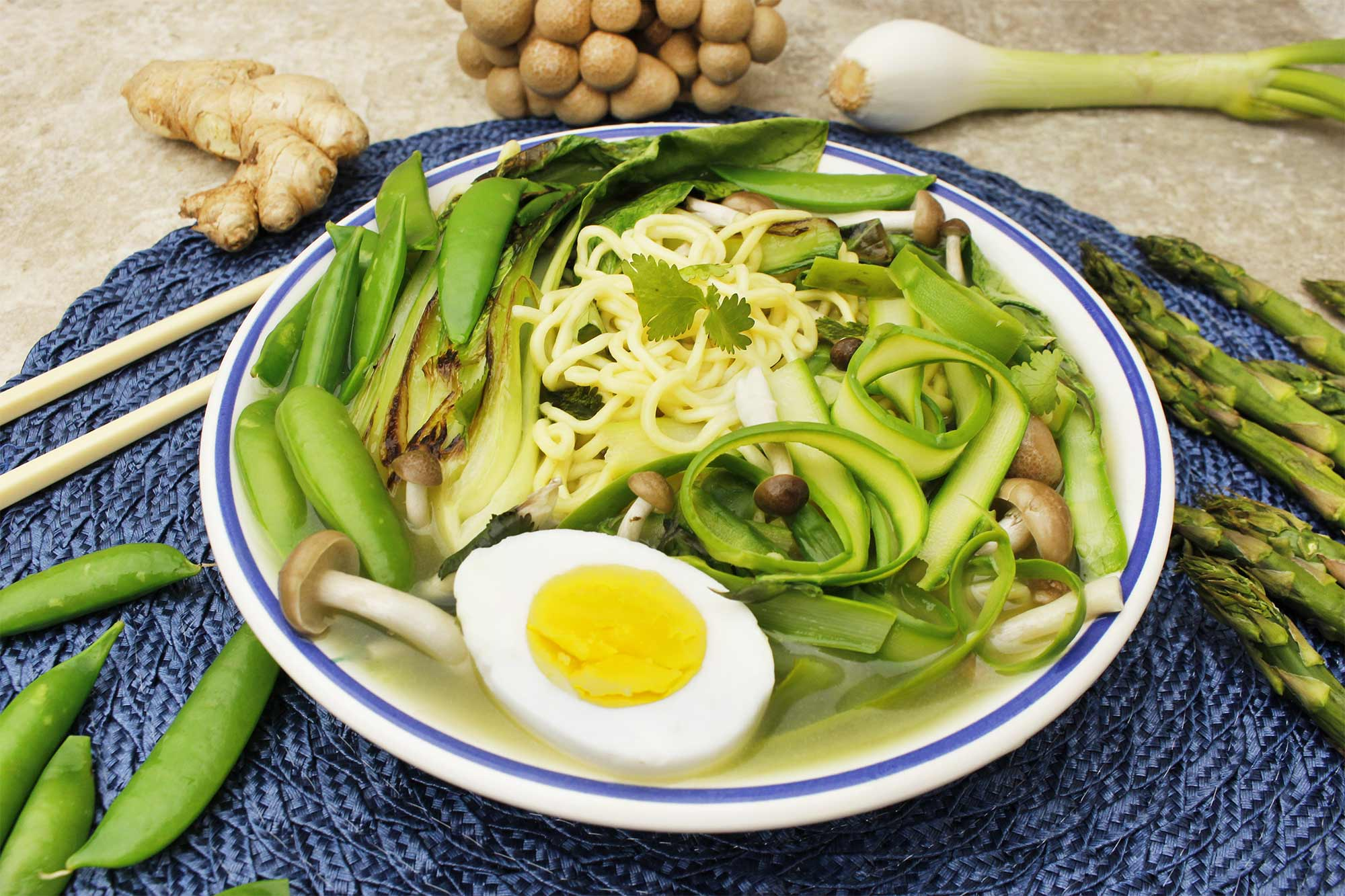 Spring Ramen with Snap Peas and Asparagus
