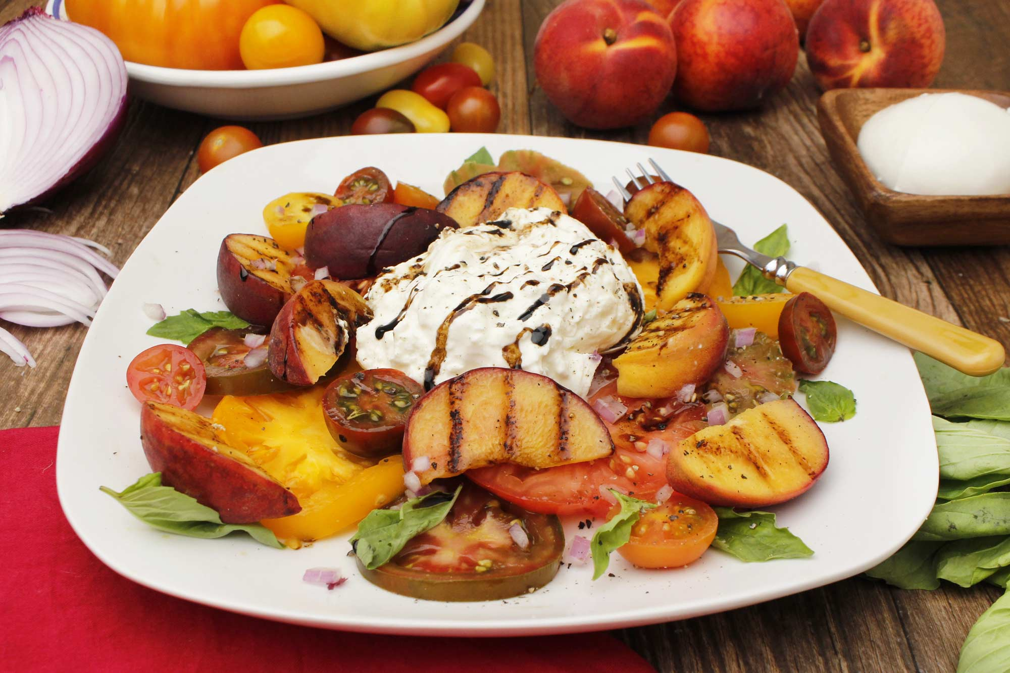 Grilled Peach & Heirloom Tomato Salad with Burrata